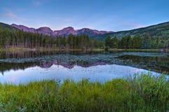 Tyndal Creek Cascade at Sunrise. Cascade on Tyndall Creek along Emerald Lake Trail - Rocky Mountains National Park, Colorado Stock Images