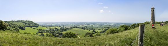 Tyndale monumentpanorama, Gloucestershire, UK fotografering för bildbyråer