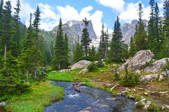 Tyndall Gorge into Dream Lake. Hike to Emerald Lake in Rocky Mountain National Forest Royalty Free Stock Photo