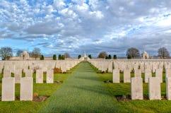 Tyne łóżka polowego cmentarz w Flandryjskich polach Zdjęcie Royalty Free