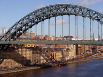 Tyne Bridge. In Newcastle Upon Tyne with historic Quayside buildings Stock Images