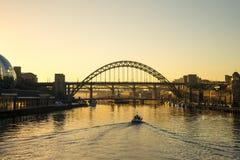 Tyne Bridge - coucher du soleil photo libre de droits