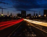 Tyne Bridge Light Trails Stock Photo