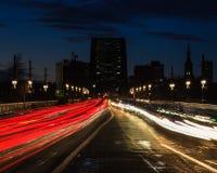 Tyne Bridge Light Trails Royalty Free Stock Image