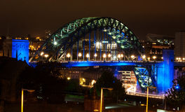 Tyne Bridge Night Fotos de Stock Royalty Free