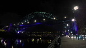 The Tyne Bridge. A night time timelapse recording of the Tyne Bridge in Newcatle Upon Tyne.  In the background are the Swing Bridge and the High Level Bridge stock footage