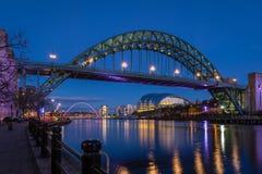 Tyne Bridge and Quayside at night Stock Photos