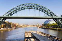 Tyne bridge from swing bridge Royalty Free Stock Photo