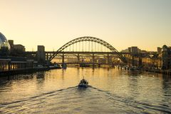 Tyne Bridge - Zonsondergang Stock Foto
