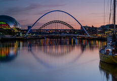 Tyne Bridges Dusk Fotografia de Stock Royalty Free