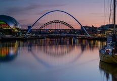 Tyne Bridges Dusk Royalty Free Stock Photography