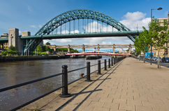 Tyne Bridges at Newcastle. Iconic Bridges at Newcastle-upon-Tyne from the Quayside Royalty Free Stock Image
