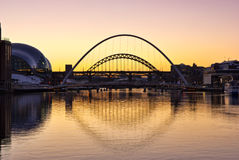 Tyne Bridges och Sage Gateshead royaltyfria bilder