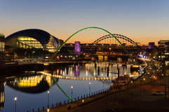 Tyne bridges at twilight Royalty Free Stock Photo