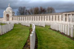 Tyne Cot Cemetery Flanders Fields, Belgium. The remembrance wall for soldiers fallen in the Great War, World war one, and headstones of graves in Flanders Fields Stock Photos