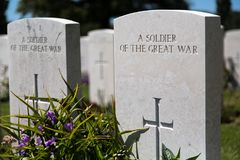 Tyne Cot Cemetery. PASSENDALE, BELGIUM - JUN 6, 2015: Tyne Cot World War One Cemetery the largest British War cemetery in the world in Passendale Belgium on Jun Royalty Free Stock Image