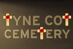 Tyne cot cemetery poppy flanders fields world war one Stock Image