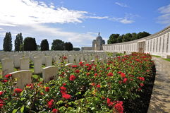 Tyne Cot Commonwealth Cemetery and Memorial. Rows of headstones of World War One soldiers, and roses; Tyne Cot Cemetery and Memorial to the Missing in Passendale Royalty Free Stock Photo