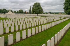 Tyne Cot WW1 Cemetery near Ypres. In Belgium Royalty Free Stock Photography
