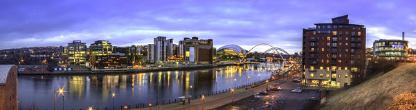 Tyne Sage Panorama. A Panorama of Newcastle upon Tyne's River Tyne showing Newcastle and Gateshead's Quayside with the Millennium and Tyne Bridge, Northeast Stock Photos