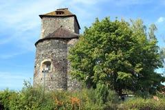 Tynec nad Sazavou castle. The tower of romanesque castle in Tynec nad Sazavou, Czech Republic Stock Photography