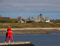 Tynemouth Abbey. Tynemouth Abbey viewed from South Shields headland across the river Tyne Stock Images