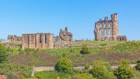 Tynemouth Castle and Priory. Overlooking the North Sea and the River Tyne, Tynemouth Castle and Priory on the coast of North East England was once one of the Stock Photography
