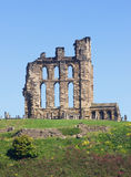 Tynemouth CPriory. Overlooking the North Sea and the River Tyne, Tynemouth Castle and Priory on the coast of North East England was once one of the largest Stock Images
