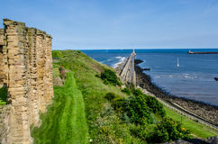 Tynemouth harbour and the priory, England Royalty Free Stock Image