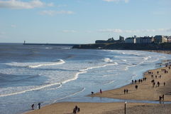 Tynemouth Longsands. View of Tynemouth Longsands and Priory Stock Photo