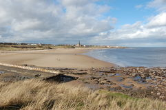 Tynemouth Longsands3. St George's church with Tynemouth Longsands in the foreground Royalty Free Stock Photos