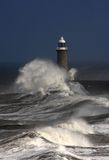 Tynemouth Pier. And rough winter stormy weather with breaking waves Stock Photography