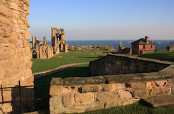Tynemouth Prior and castle. With the piers of the River Tyne Showing Stock Photography