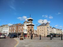 Tynemouth square. Street view with clock tower of Tynemouth square in England, taken on 13th August 2017 Royalty Free Stock Photography