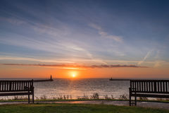 Tynemouth Sunrise. The mouth of the River Tyne is located between South Shields and Tynemouth, where it enters the North Sea, seen here at sunrise Stock Image
