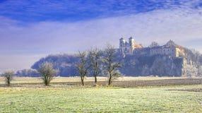 Tyniec Benedyktyński opactwo w zimie fotografia stock