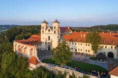Benedictine monastery in Tyniec near Krakow, Poland. Tyniec near Krakow, Poland. Benedictine abbey and Saint Peter and Paul church on the rocky hill at Vistula Royalty Free Stock Photography