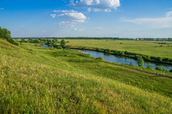 Tyosha river and meadows. City of Arzamas. Stock Photos