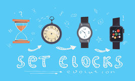 Typ alarmów zegary, zegary i zegarki ustawiający, Kreskówka styl ewolucja royalty ilustracja
