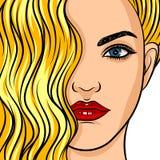 Typ för framsida för flicka` s europeisk med makeup och blont hår stock illustrationer