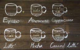 Typ kawa Zdjęcie Royalty Free