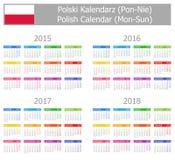 Typ- 1polnischer Kalender 2015-2018 Montag-Sun lizenzfreie abbildung
