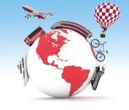 Typ transport na kuli ziemskiej Pojęcie międzynarodowa turystyka Fotografia Stock