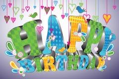 Type 3d lustré : Joyeux anniversaire Photo libre de droits