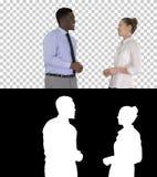 Type afro-américain et fille parlant des affaires, Alpha Channel images stock