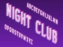 Type au néon isométrique de vecteur Police lumineuse de lettres Alphabet 3d anglais d'isolement Inscription de boîte de nuit illustration libre de droits