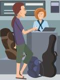 Type avec la guitare signant au bureau de ligne aérienne Photos libres de droits