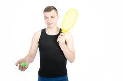 Type avec une raquette de tennis Photo stock
