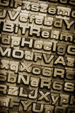 Type Background Vertical. A random letterpress type background. Selective focus. Hand tinted for an antique look royalty free stock photo