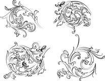 Type baroque de calligraphie de rosette. Images stock